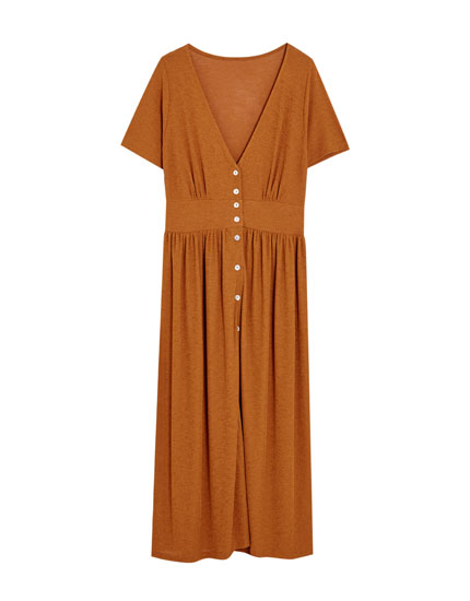 Button-up safari midi dress