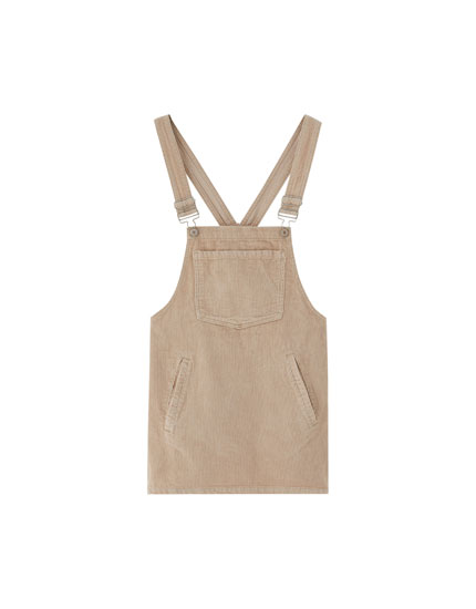 Basic corduroy pinafore dress