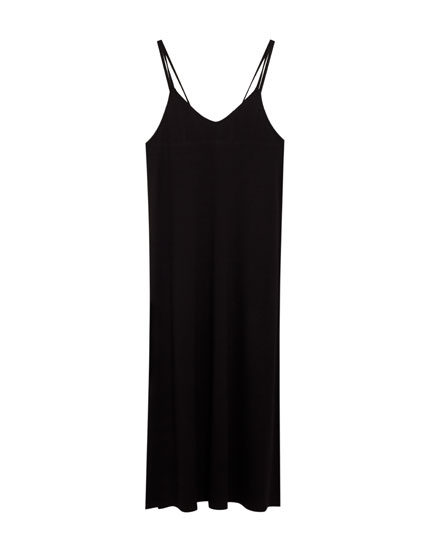 Long crepe dress with straps