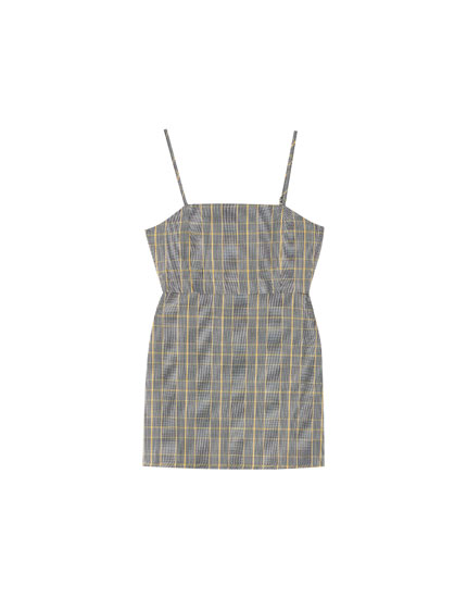 Checked short strappy dress