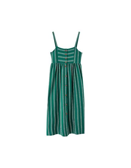 Midi garuma kleita ar lencēm un pogām