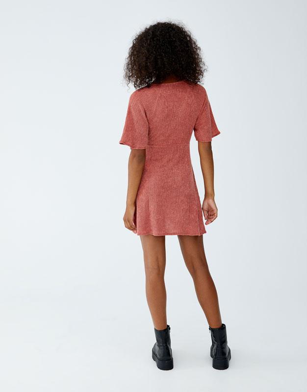 bd4a2bf46229 Φόρεμα με φραμπαλά και κόμπο - PULL BEAR