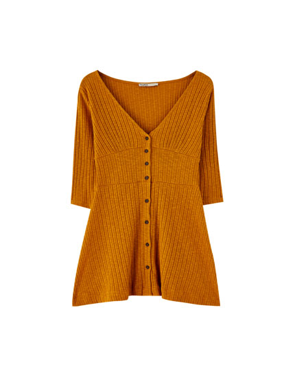 Ribbed dress with 3/4 length sleeves