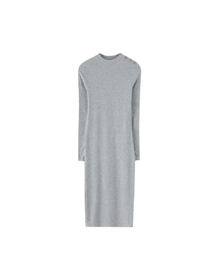 Buttoned high neck dress