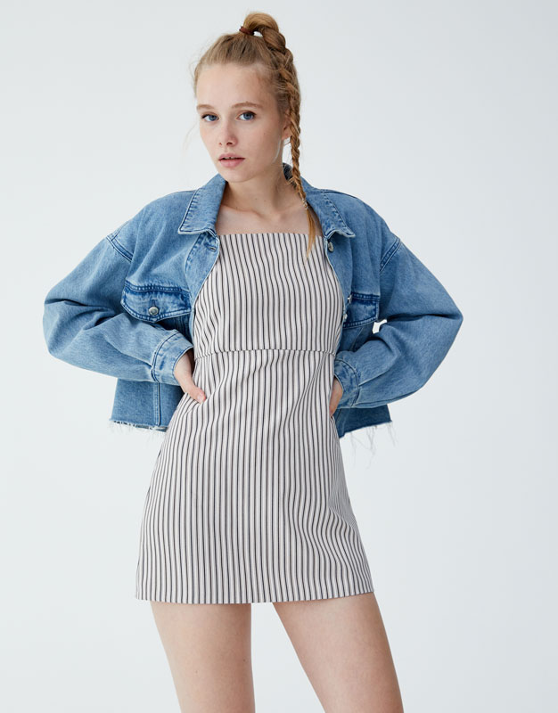 368a81e2ff Shoptagr | Short Strappy Striped Dress by Pull & Bear