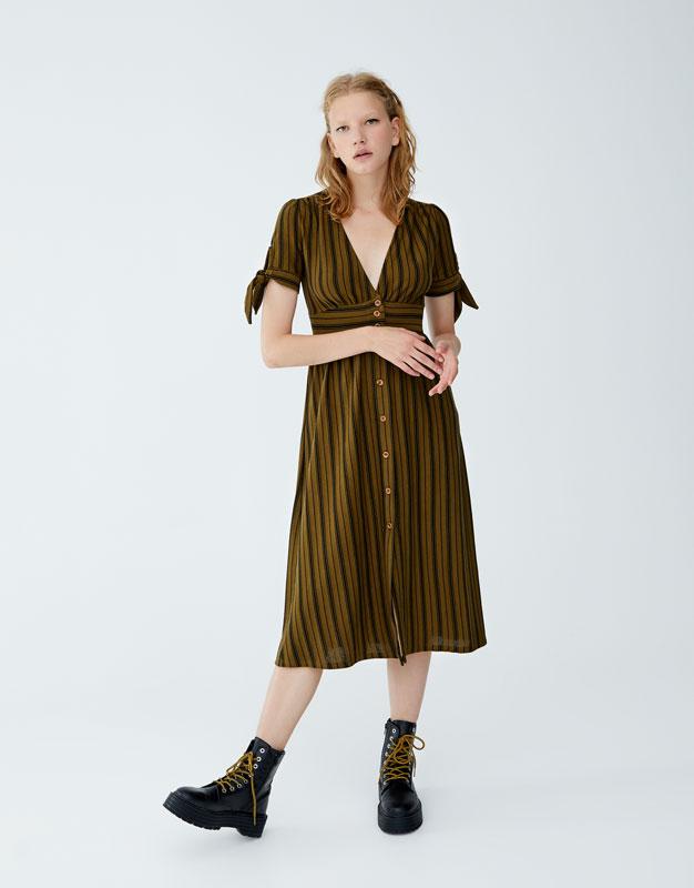 Платье миди в полоску с узлами by Pull & Bear
