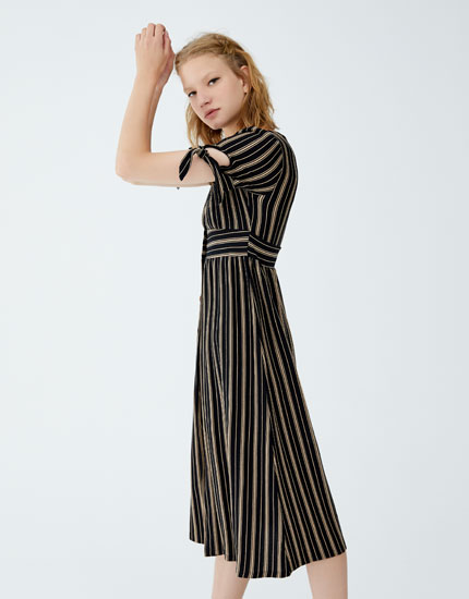 Striped midi dress with tie sleeves