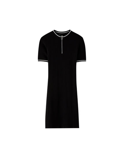 Zip-up high neck dress