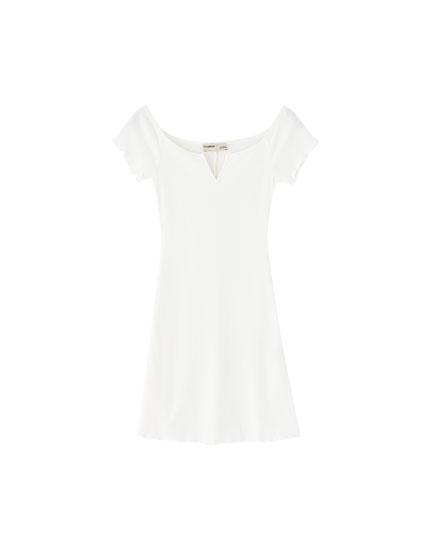 Ribtricot mini-jurk met boothals