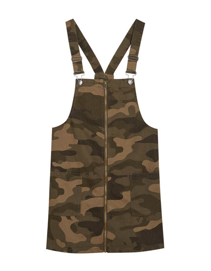 Camouflage zip-up pinafore dress