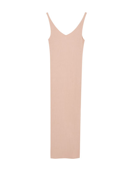 Ribbed midi dress with straps