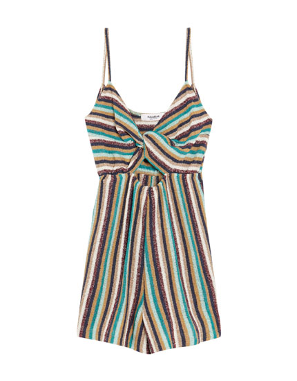Short knotted jumpsuit with straps