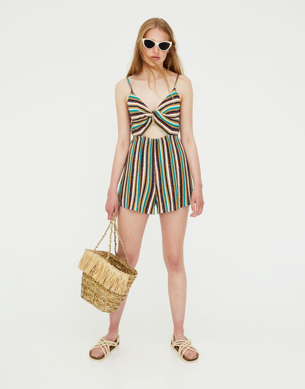 Pull & Bear - Short knotted jumpsuit with straps - 1