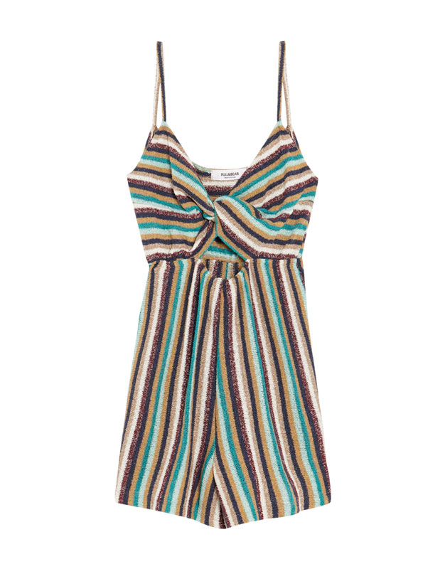 Pull & Bear - Short knotted jumpsuit with straps - 6