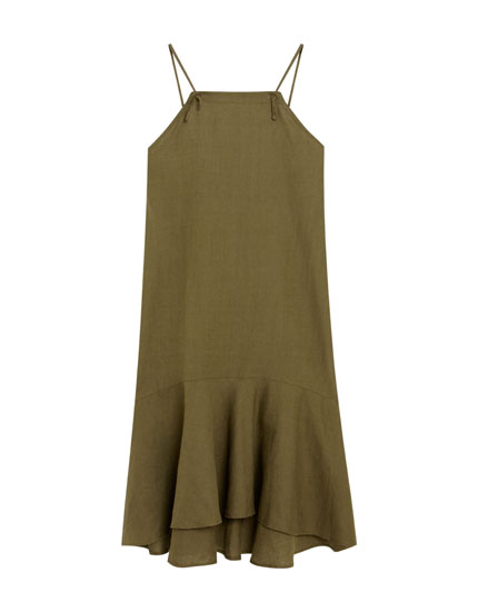 Midi dress with ruffled hem