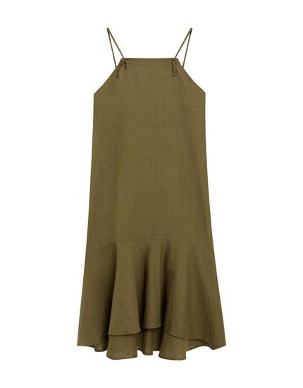 Платье миди с воланом