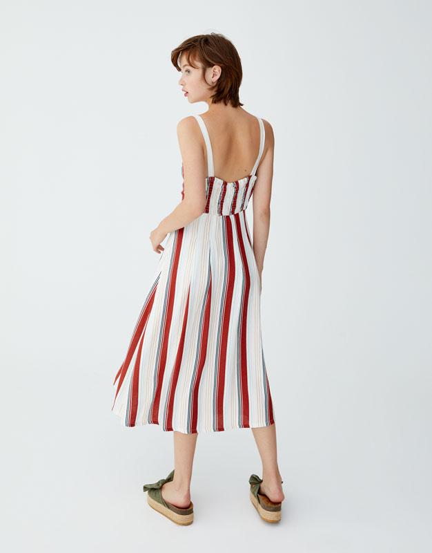 71e420549411 Striped button-up midi dress - PULL BEAR