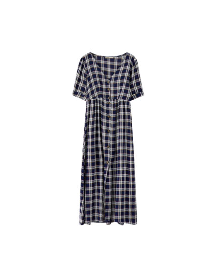 Checked midi dress with front buttons