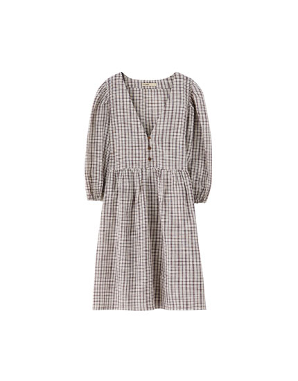 Checked babydoll dress