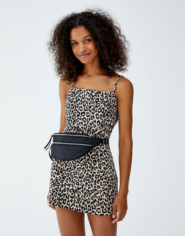 Mini Dress With Straight Cut Neckline by Pull & Bear