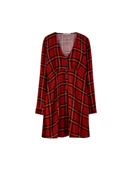Long sleeve check dress