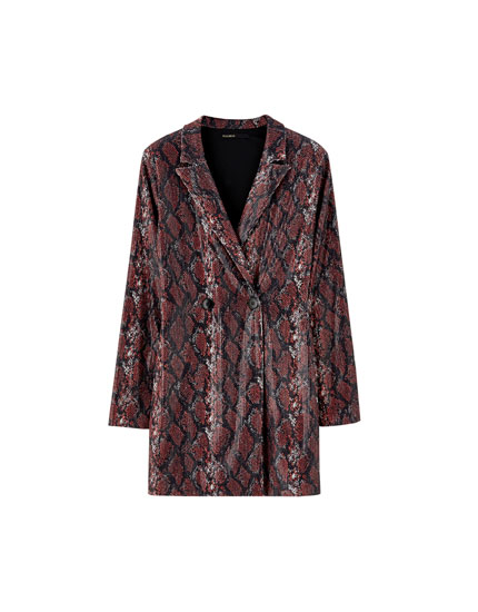 Snakeskin print sequin blazer dress