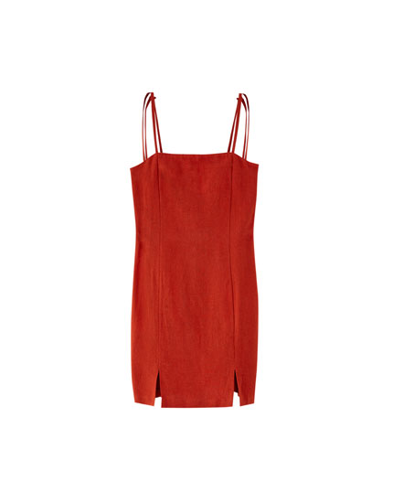 Dress with straight neckline