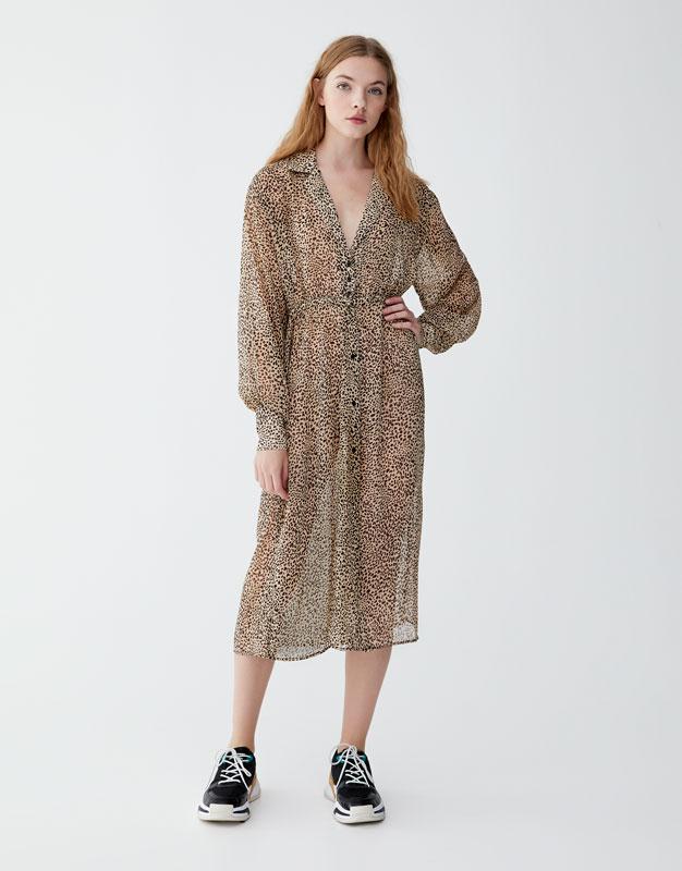 PULL   BEAR. SEMI-SHEER LEOPARD PRINT SHIRT DRESS 67d16c636