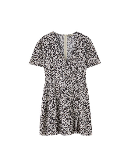 Leopard print buttoned crossover neck dress