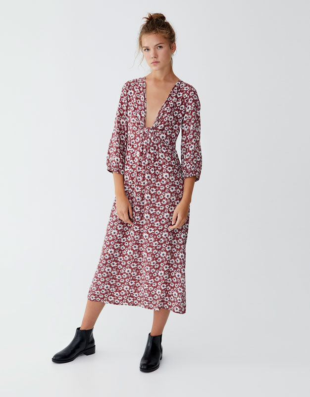 Midi Dress With Knotted Neckline by Pull & Bear