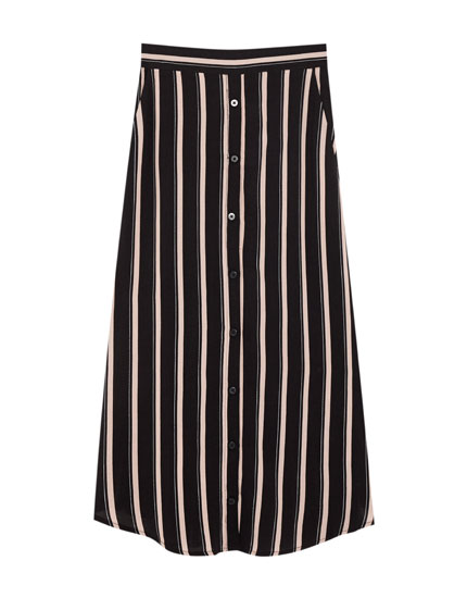 Button-up midi skirt with striped print