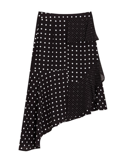 Polka dot midi skirt with ruffles