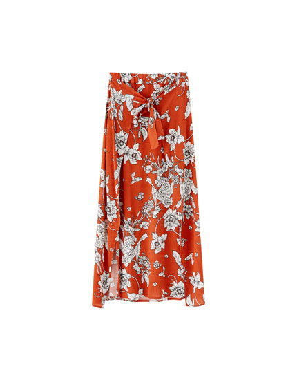 Printed midi skirt with slits