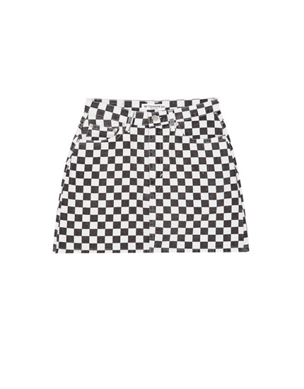 Chequered flag print denim skirt