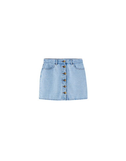 Denim skirt with front buttons