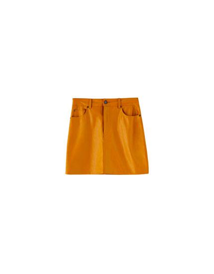 Minirok 5-pocket in leerlook