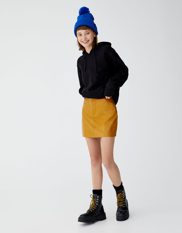 Faux Leather Mini Skirt With 5 Pockets by Pull & Bear
