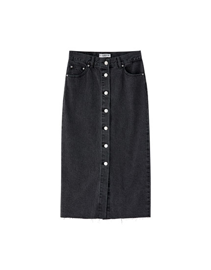 Denim midi skirt with front buttons