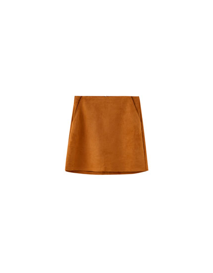 Faux suede mini skirt with topstitching