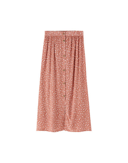Midi skirt with buttons and slits