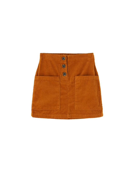 Corduroy mini skirt with pockets and buttons