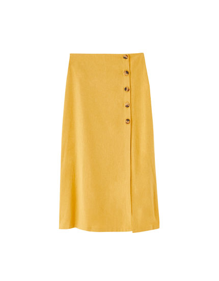 Midi skirt with side buttons