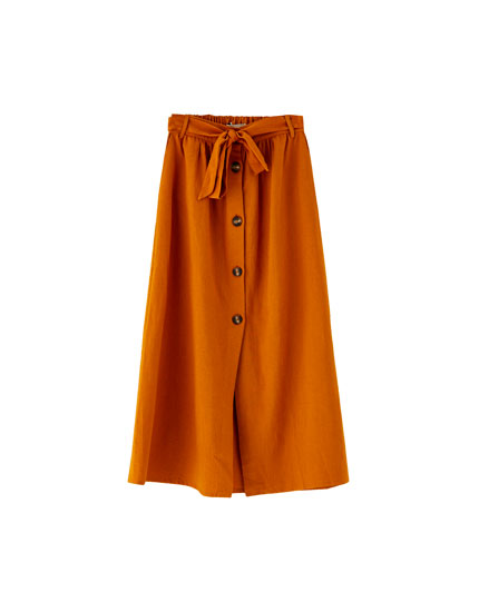 Midi skirt with buttons and tie belt
