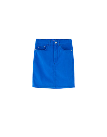 Electric blue denim skirt