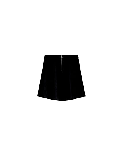 Corduroy mini skirt with zip