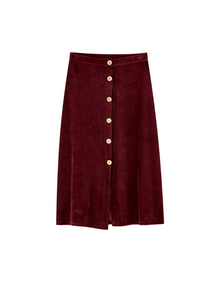 Corduroy midi skirt with buttons