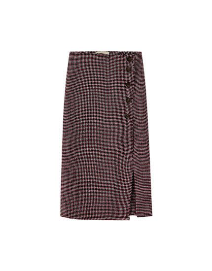 Navy blue buttoned midi skirt