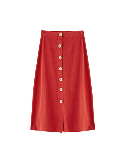 Midi skirt with front buttons