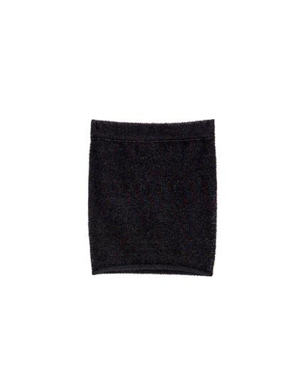 Shimmer faux fur mini skirt