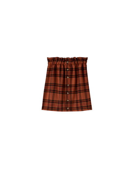 Check paperbag mini skirt